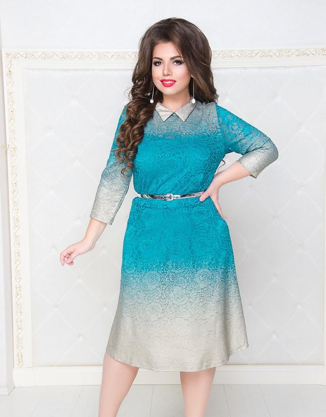 Гипюровое платье с поясом  50 52 54 56