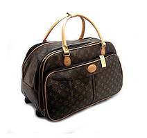 Сумка дорожня на колесах кожзам коричнева Louis Vuitton на 60 л, 30x34x60