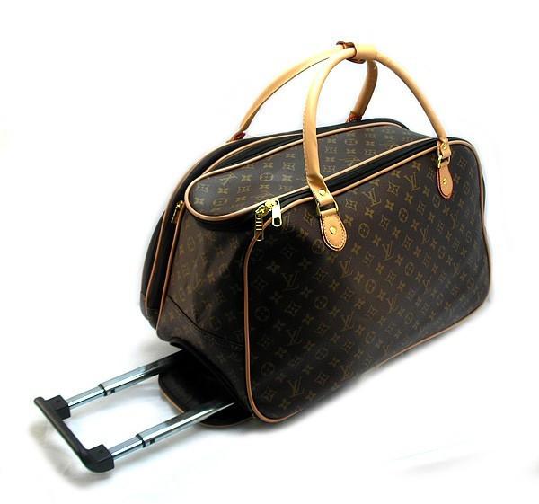 Чемодан сумка дорожная на колесах кожа PU коричневая Louis Vuitton на 40 л, 28x30x50