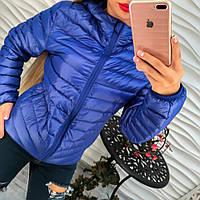 Стильная болоньевая куртка на пуху с каюшоном электро, синяя, черная