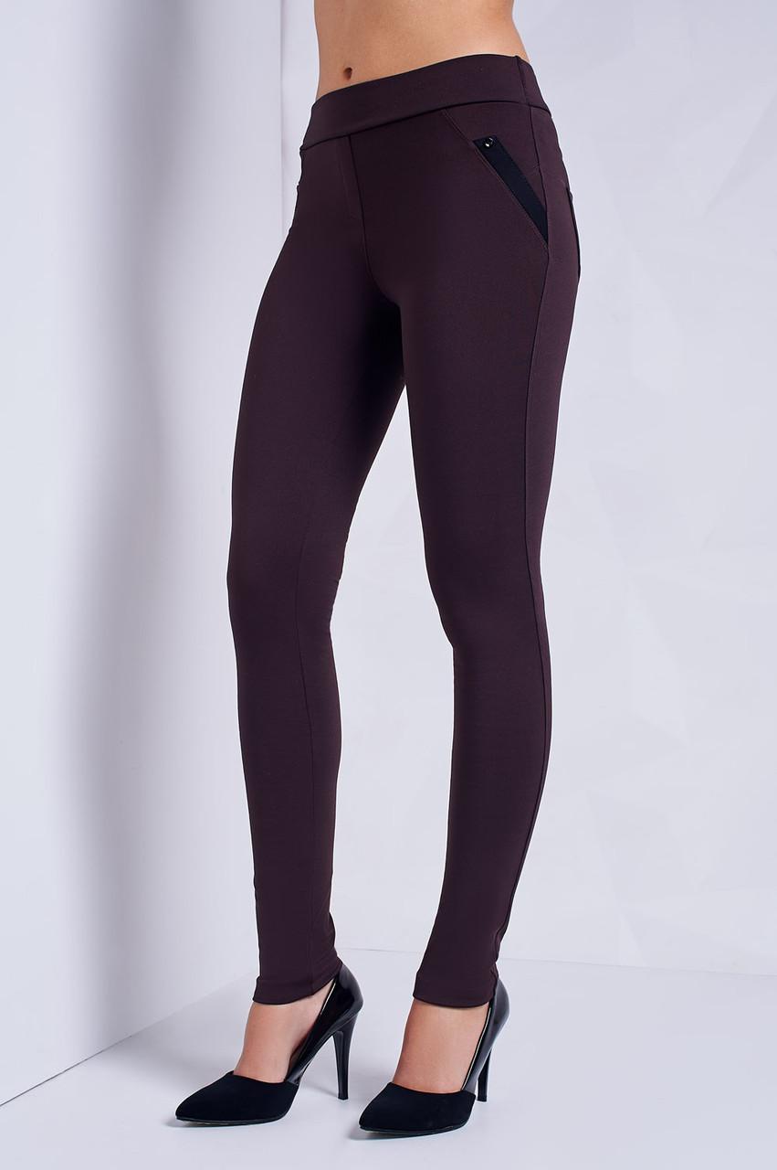 Модные женские лосины утеплённые байкой S, M, L, XL, XXL  коричневые