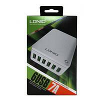 Сетевое зарядное устройство LDNIO, White, 6xUSB, 7A, сетевой кабель 1,5 м (A6703)