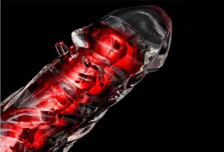 Красный вагинально-анальный вибратор 18 см силиконовый