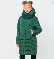 Пальто детское зимнее на девочку Соня с вязаным хомутом Изумруд Размер 122- 164 ТОП продаж
