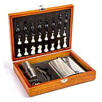 Набор шахмат подарочный и фляга для алкоголя TZ-15