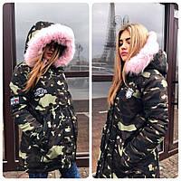 Женская зимняя куртка-парка с пышным мехом на капюшоне в расцветках