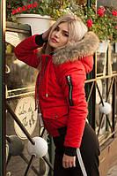 Женская зимняя куртка с натуральным и искусственным мехом на капюшоне на выбор в расцветках
