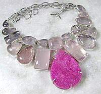 Крупное Колье, ожерелье с друзой АГАТА и Розовым Кварцем