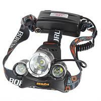 Налобный аккумуляторный мощный фонарь Boruit RJ-3000 с 3 LED лампами