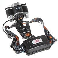 Яркий светодиодный  налобный фонарь Boruit RJ-3000 (3 Led)