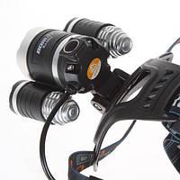 Лучший налобный  светодиодный аккумуляторный  фонарь Boruit RJ-3000  (3 Led)