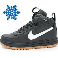 Мужские зимние кроссовки Nike Lunar Force с мехом высокие черные р.(46)