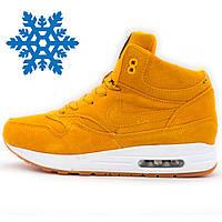Зимние кроссовки Nike air max 87 желтые с мехом