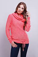 Красивый  молодёжный вязаный свитер с хомутом 44-46 коралловый
