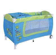 Детская кровать-манеж DANNY 2 LAYERS  BLUE&GREEN CARТМ Lorelli/Bertoni 10080361714