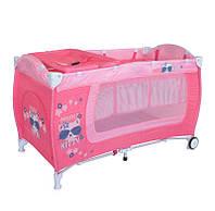 Детская кровать-манеж DANNY 2 LAYERS  PINK KITTY ТМ Lorelli/Bertoni 10080361723