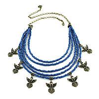 Колье Згарды Ангел (бронза, т.синий бисер)