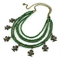 Колье Згарды Хатка (бронза, зеленый бисер), фото 1