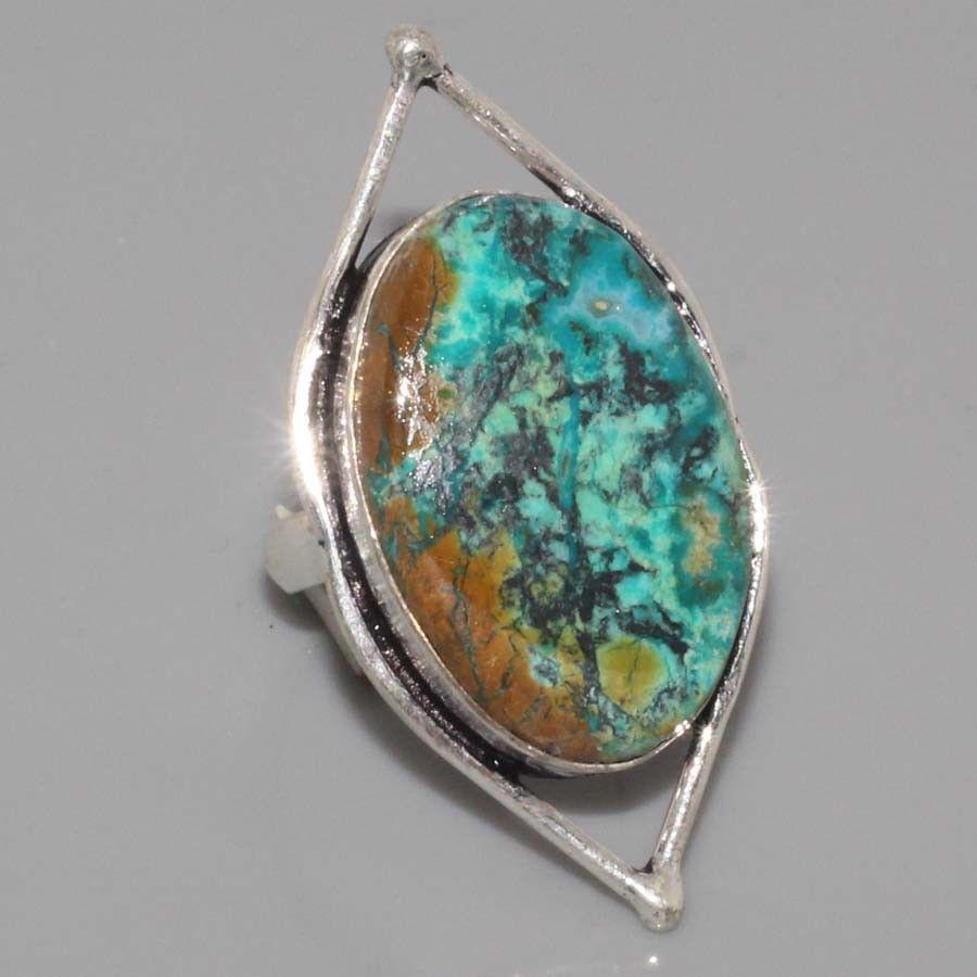 Оригинальное кольцо хризоколла в серебре. Размер 17,5-18. Индия!