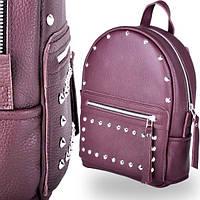 Молодежный кожаный рюкзак женский sport насыщенного цвета wine rock Jizuz