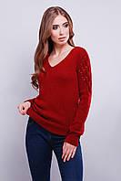 Модный молодёжный вязаный свитер с V-образным вырезом 42-46 вишня