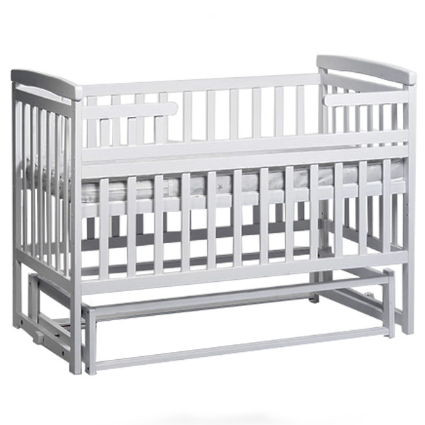 деревянная детская кроватка трансформер лодочка белая дитячий сон