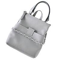 Повседневный женский кожаный рюкзак трансформер для девушек jizuz к-2 grey Jizuz