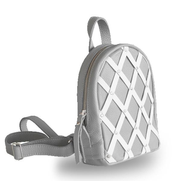 adb78dac358c Серый маленький кожаный рюкзак женский с контрастным плетение little archer  grey Jizuz - Omama. Интернет