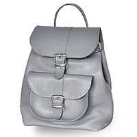 Кожаный рюкзак женский с ручками на карабинах jizuz classik new grey Jizuz