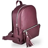 Стильный большой кожаный женский рюкзак для девушек pilot wine без брелков Jizuz