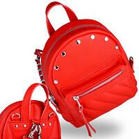 Ярко красный маленький женский кожаный рюкзак baby sport red soft (chain) Jizuz