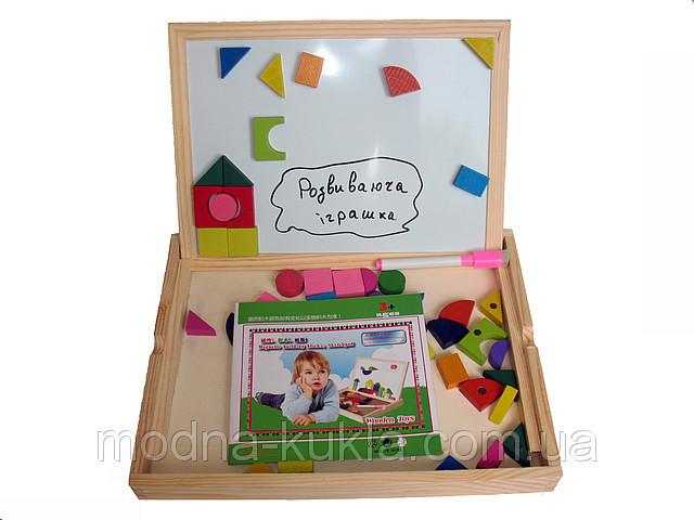 Доска магнитная (51 фигура + маркер), очень хорошего качества развивающая деревянная игрушка.