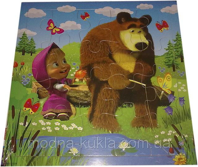 """Пазлы в деревянной рамке """"Маша и Медведь"""", (рыбалка), увлекательная детская развивающая  игрушка!"""