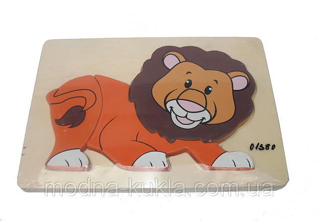 """Рамка-вкладыш деревянная """"Лев"""", увлекательная детская развивающая  игрушка!"""