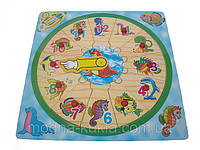 """Часики-вкладыш """"морские обитатели"""", увлекательная детская развивающая  игрушка!"""