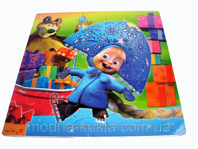 """Пазлы в деревянной рамке """"Маша и Медведь"""", (Новый Год), увлекательная детская развивающая  игрушка!"""