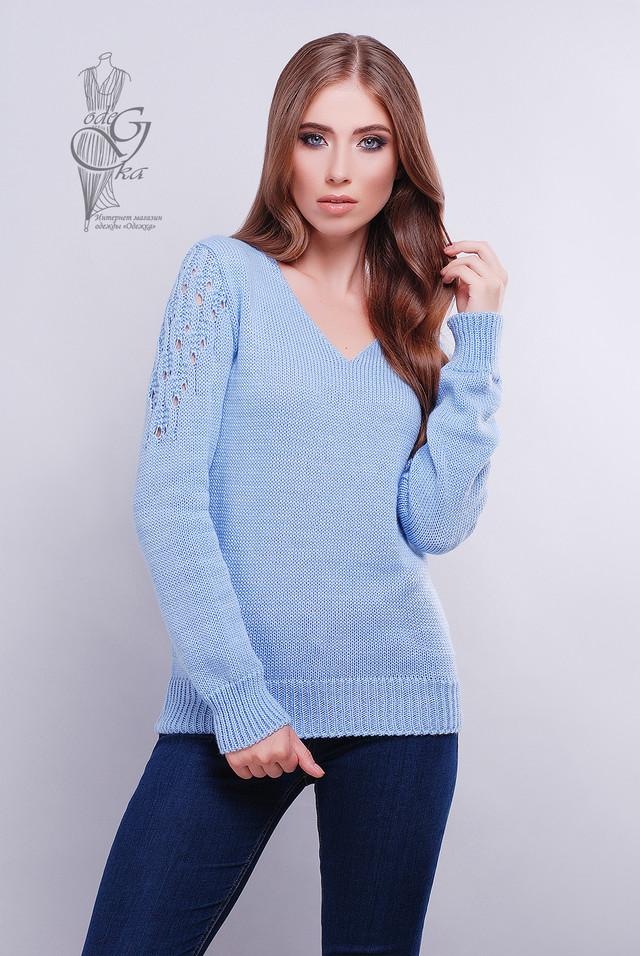 Голубой цвет Красивых женских свитераов Ажур