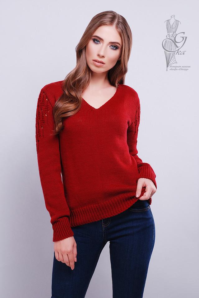 Цвет бордо Красивых женских свитеров Ажур