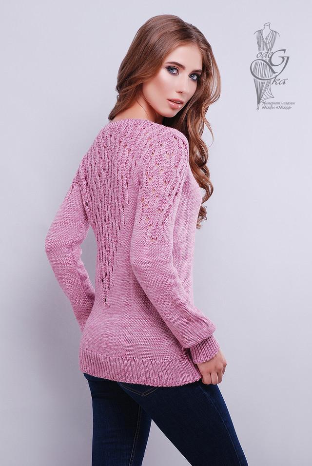 Лиловый цвет Красивых женских свитеров Ажур
