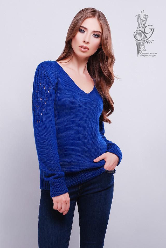 Цвет Электрик Красивых женских свитеров Ажур