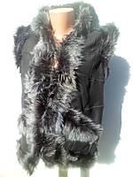 Жилет кожаный женский из капюшоном, шкура козы, цвет чёрный