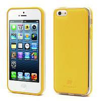Чехол накладка Kingpad Leather Hard TPU для iPhone SE 5S 5 желтый