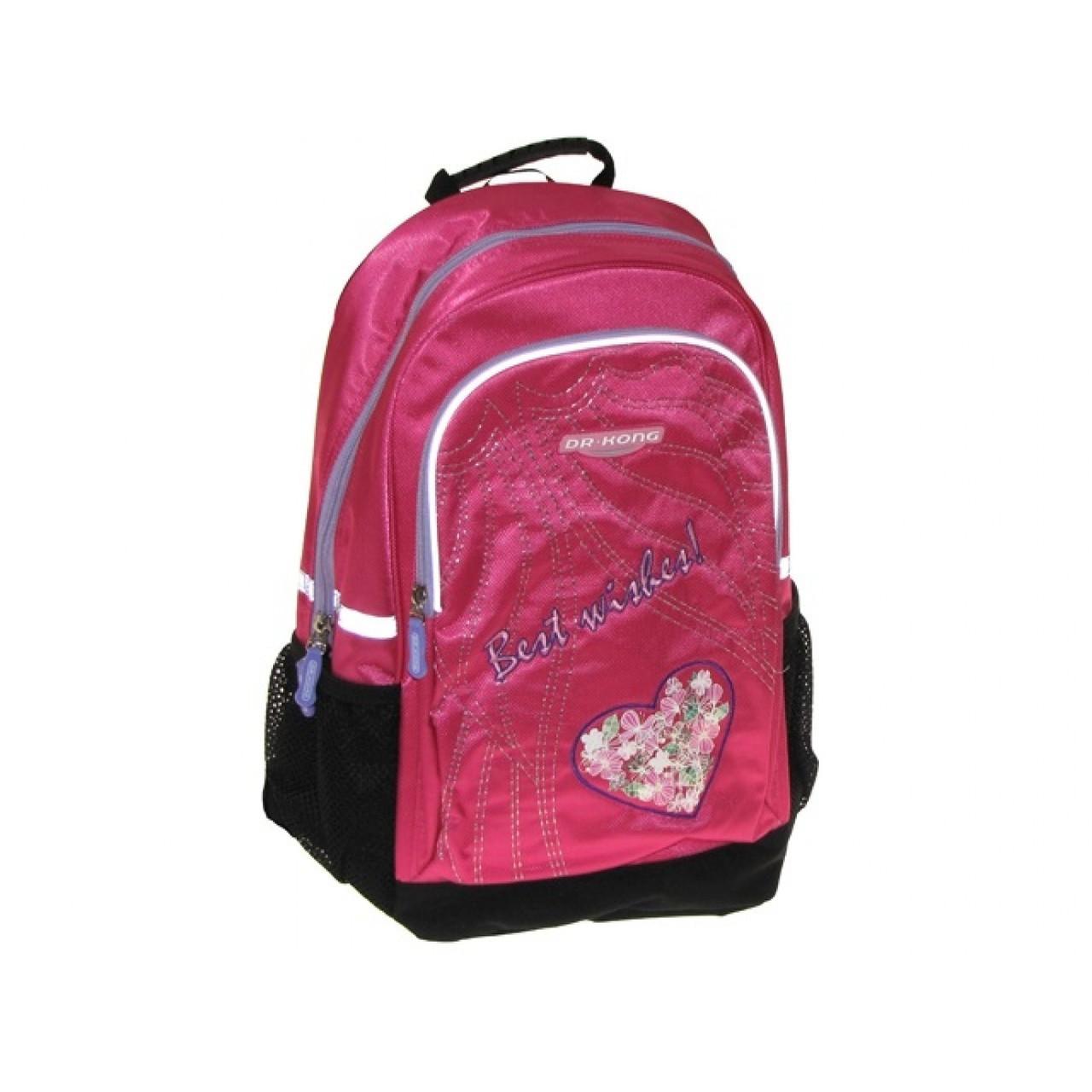 Рюкзак Dr. Kong Z142U 38х28х16см M ортопедична спинка 3 основні відділення 2 кишені рожевий