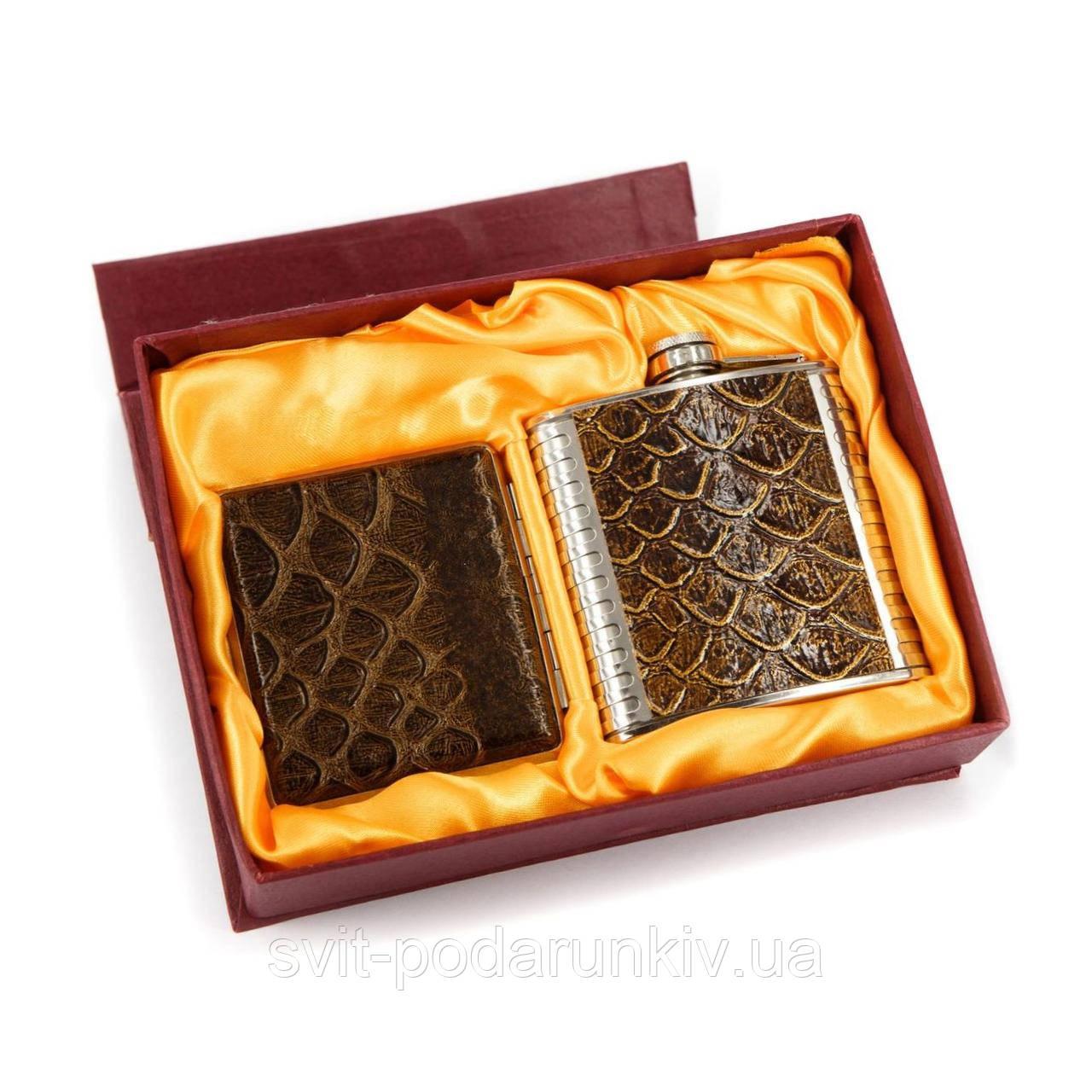 Подарочная фляга 6 oz и портсигар FS34
