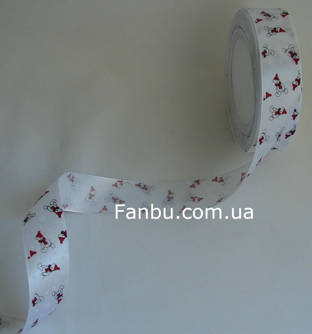 """Новогодняя атласная лента белая""""мишка и снежинки"""" (ширина 2.6см)"""