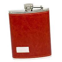 """Фляга для алкоголя в коже на 8 унций под логотип """"красно-коричневая"""" 146-8C"""