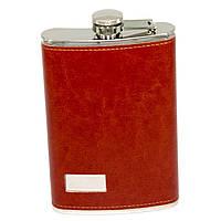 Фляга для алкоголя в коже на 10 унций под логотип красно коричневая A146-10C