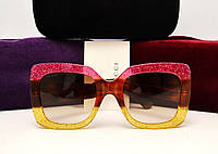 Женские солнцезащитные очки Gucci GG 0083/S (цвет розовый-золото)