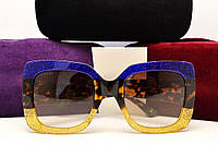 Женские солнцезащитные очки Gucci GG 0083/S (цвет синий-золото)