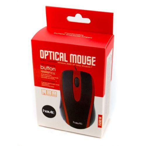 USB проводная оптическая мышка мышь Havit HV-MS753 Red